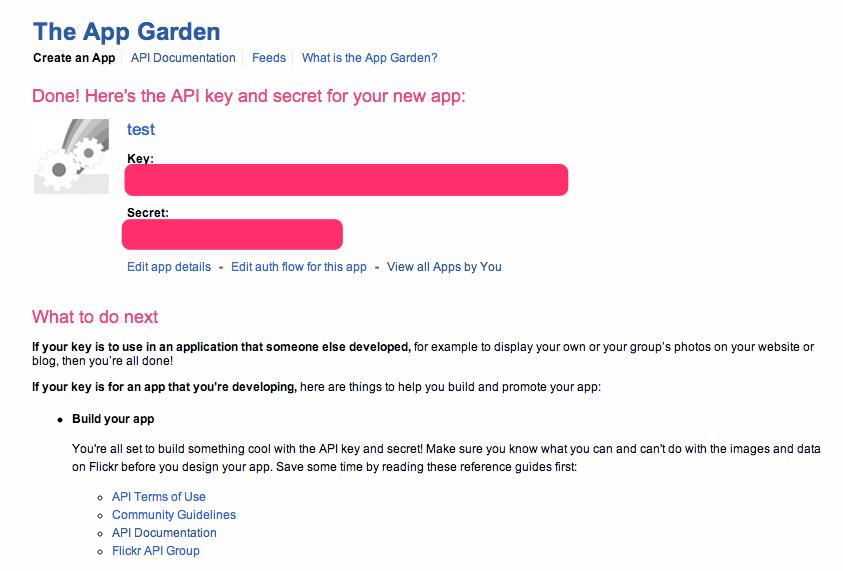 Creating an app on Flickr  Application Sharing 1