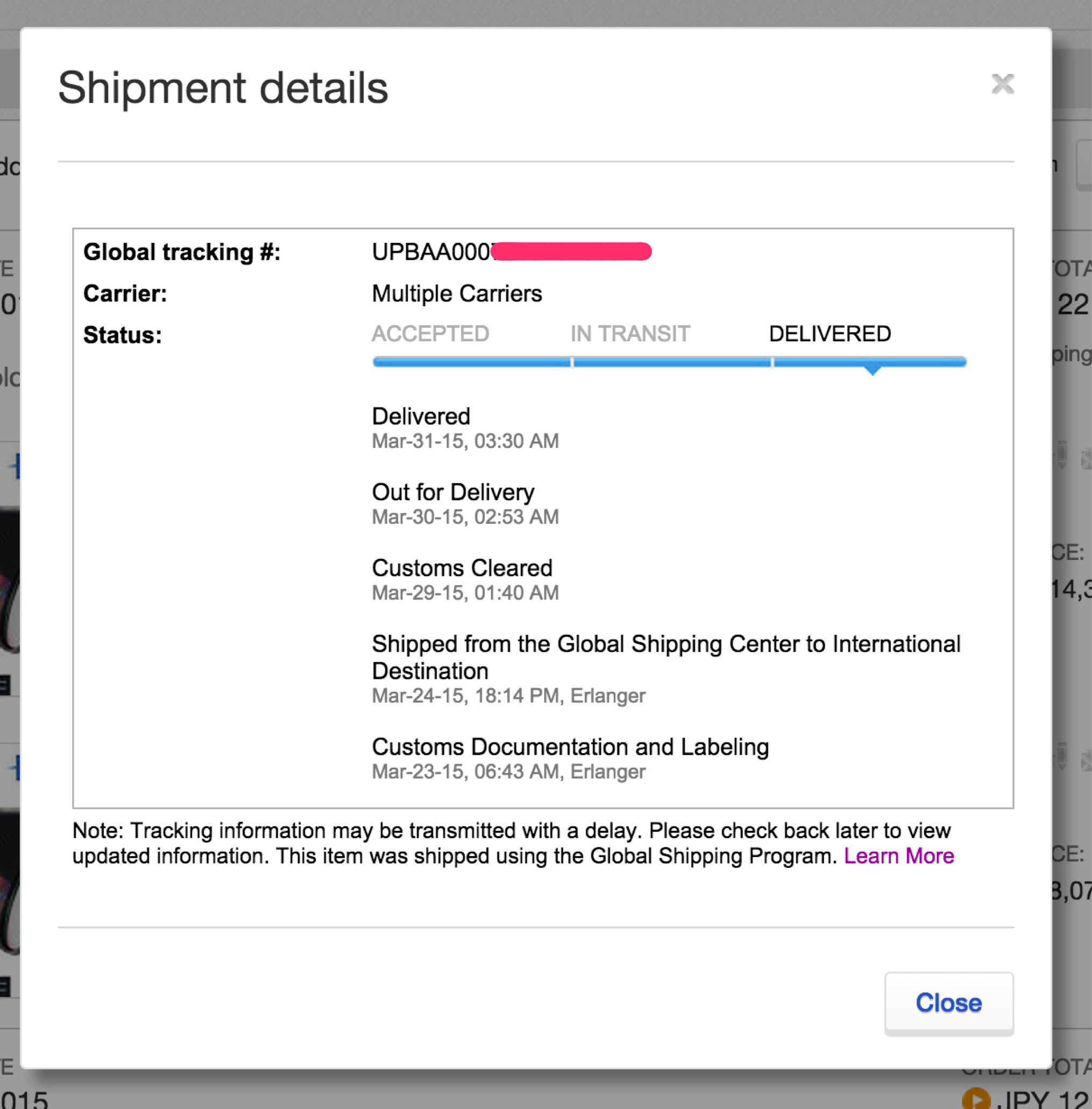eBayのGlobal Shipping Programでの配送記録